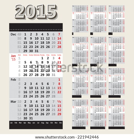 2015 4 month calendar