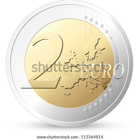 2 Euros - European currency - stock vector