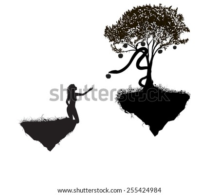 Eva takes apple, Heavens on flying rocks, first sin, shadows, at the edge, white background - stock vector
