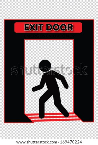 Exit Door Emergency Use Only Sign - stock vector