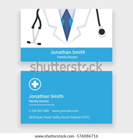 Family Doctor Business Card Template Vector Illustration