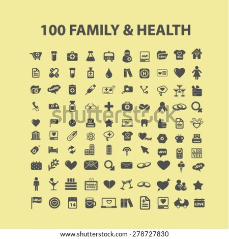 100 family, health, icons, signs, illustrations set, vector - stock vector