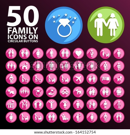 50 Family Icons on Circular Buttons.