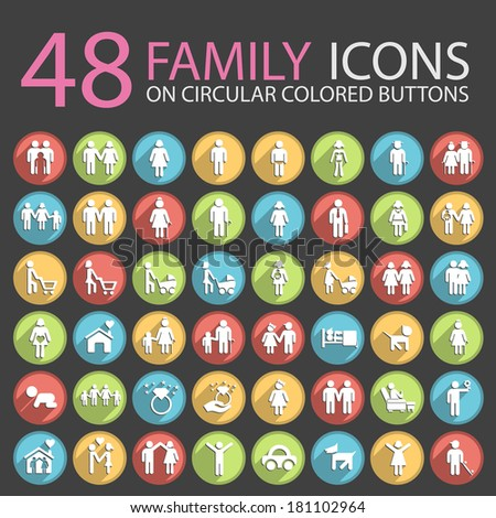 48 Family Icons on Circular Colored Buttons. - stock vector