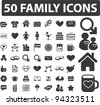 50 family icons set, vector - stock vector