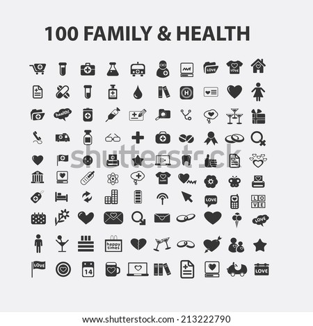 100 family, love, health isolated icons, signs, symbols, illustrations, silhouettes, vectors set - stock vector