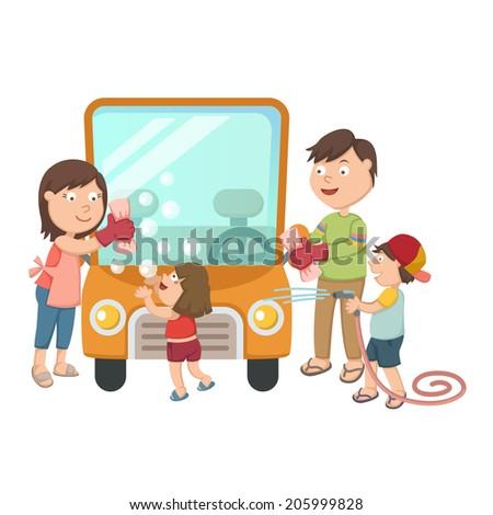 Family washing their car - stock vector
