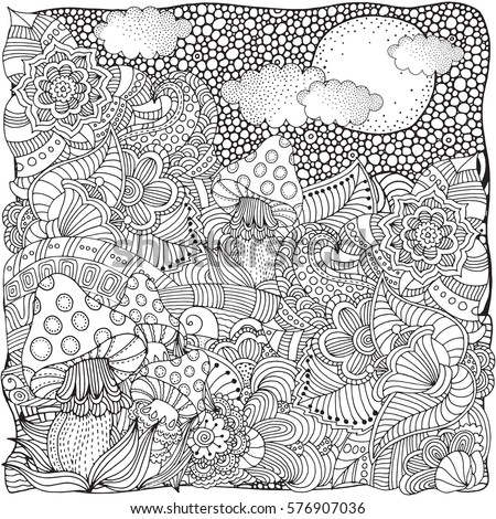 fantasy mushroom coloring pages - photo#24