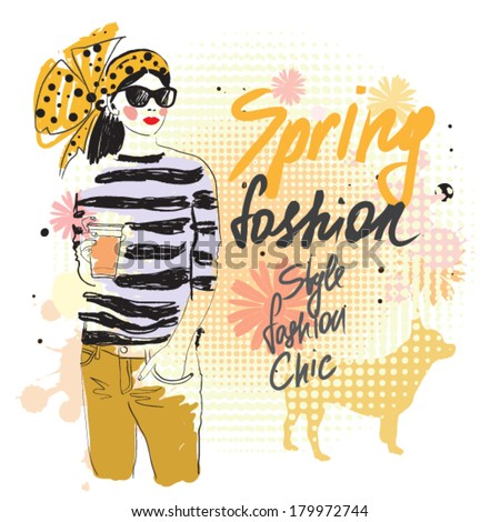 Fashion girl and spring flowers. vector illustration - stock vector