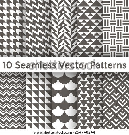 10 Fashionable geometric seamless pattern set. Vector illustration for retro design. Endless texture can be used for printing onto fabric and paper or scrap booking. Abstract different shapes ornament - stock vector