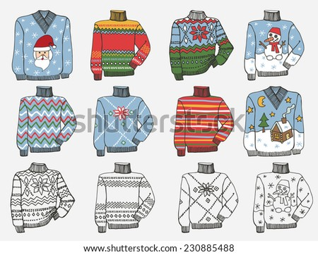 Fashionable knitted  cozy Sweaters,pullover set on Sketchy style. Autumn ,winter ,spring  wear.Male hipster Fashion illustrations.Vector. - stock vector