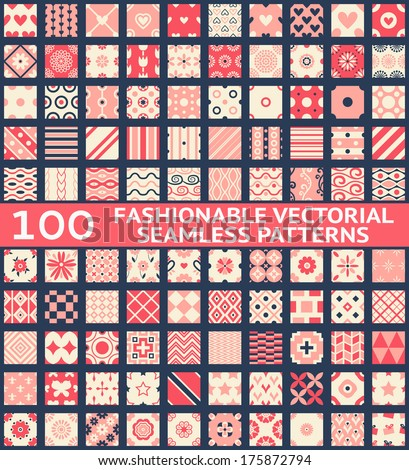 100 Fashionable vintage vector seamless patterns (with swatch, tiling). Retro pink, white and blue colors. Texture for wallpaper, web page background, fabric and paper. Set of geometric ornament. - stock vector