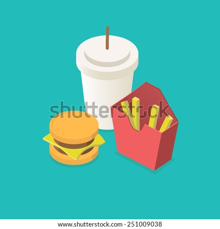 Fast food icons set for menu Isometric. 3d flat design vector - stock vector