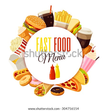 """Fast food menu"" label with hamburger, french fries, coffee, sandwich, popcorn, ice cream, pizza, taco and so. Vector illustration, isolated on white, eps 10. - stock vector"