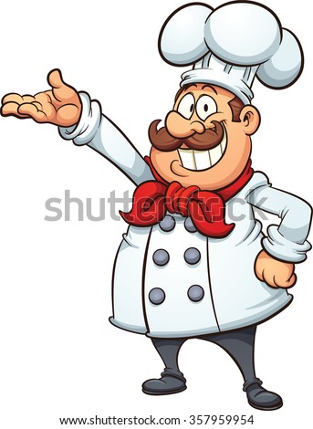 Fat cartoon chef. Vector clip art illustration with simple gradients. All in a single layer. - stock vector