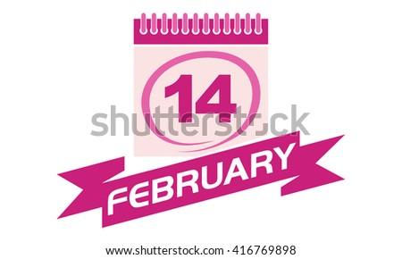 14 February Calendar with Ribbon - stock vector