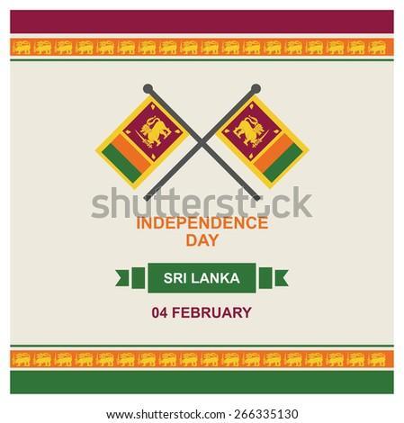 4 February Sri Lanka Independence Day - SriLanka National Day Celebration Card, Background, Badges Vector Template - stock vector