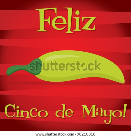 """Feliz Cinco de Mayo"" (Happy 5th of May) card in vector format."