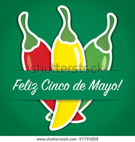 """Feliz Cinco de Mayo"" (Happy 5th of May) paper cut out card in vector format. - stock vector"