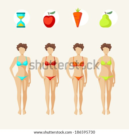 Female body shapes - four types  - stock vector