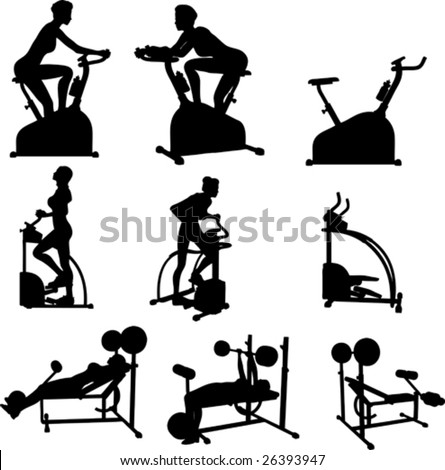 Female Exercise Vector Silhouettes - stock vector