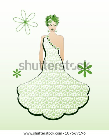 Female with flowers in her hair  / glamour dress  / green environmental concept