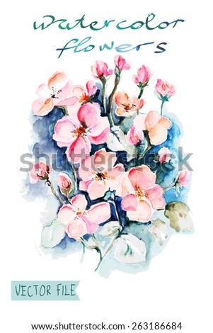 """Festive picturesque bouquet  flowers  water color paints c flowers.Album""""New bouquets by a holiday from water color flowers"""".Album """"Vector bouquets by holidays from the picturesque drawn flowers."""" - stock vector"""