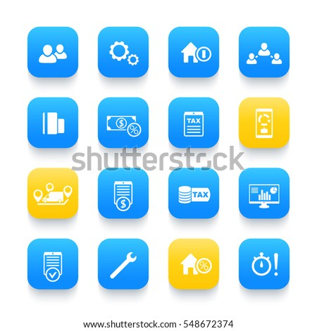 16 Finance, Costs, Payroll, Invoice, Bill Icons On Rounded Square Shapes,