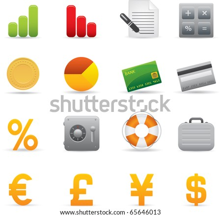 04 Finance Icons Professional vector set for your website, application, or presentation. The graphics can easily be edited color individually and be scaled to any size - stock vector