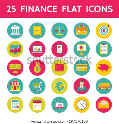 25 Finance Vector Icons in Flat Design Style for presentation, booklet, website etc. - stock vector