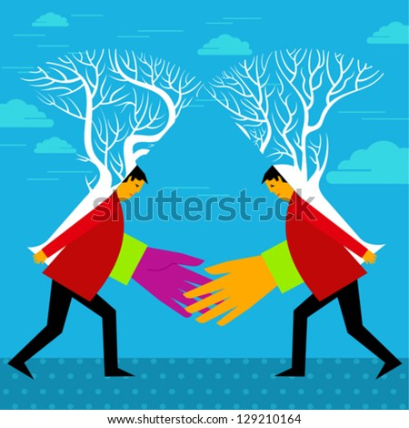 financial merger concept with two trees connecting - stock vector