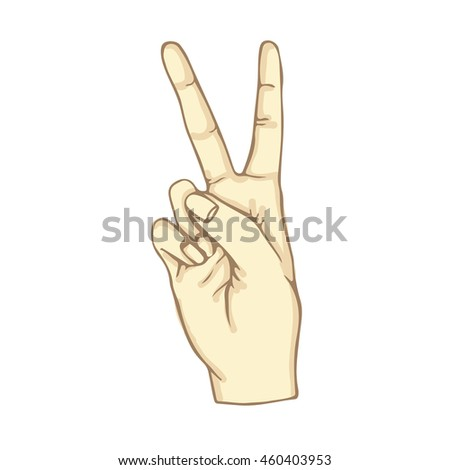 2 Finger Symbol with fingers like Victory 2 Finger gesture Two Finger Hand in victory gesture White 2 Fingers shows victory symbol Victory icon Vector Illustration Victory sign Victory image