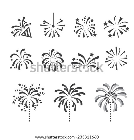 fireworks icons - stock vector