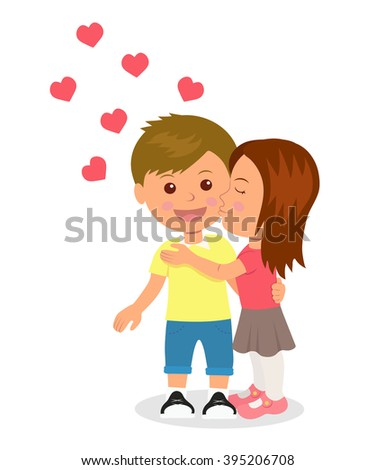 First love. Boy and girl hugging and kissing. Concept design of romantic relationship between a man and a woman. Valentines Day - stock vector