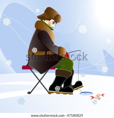 Fisherman catches a fish on a frozen river. - stock vector
