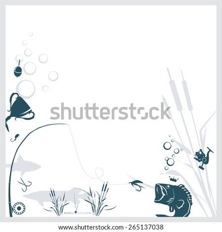 Fishing background with relevant objects on it - stock vector