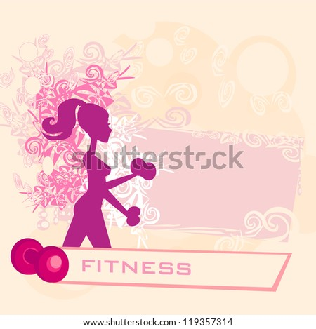 fit woman exercising with two dumbbell weights on her hands poster - stock vector