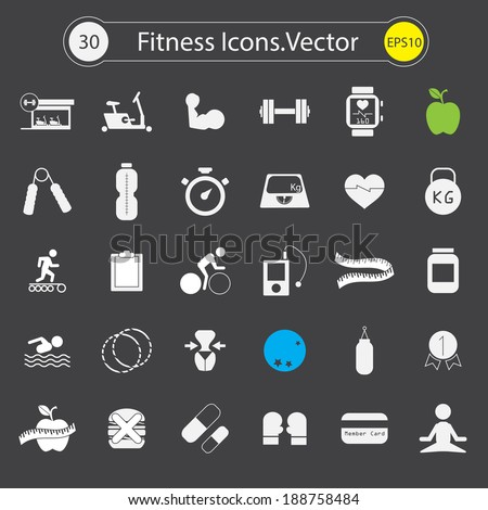 Fitness and Sport Icons . Vector design