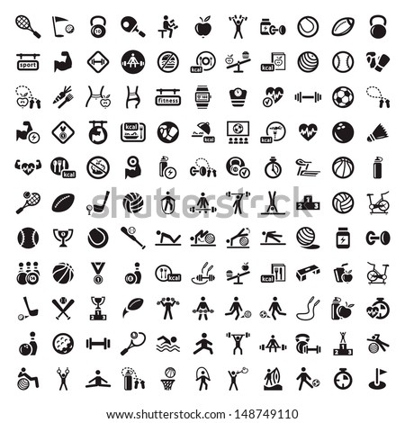 121 Fitness and Sport vector icons for web and mobile. All elements are grouped. - stock vector
