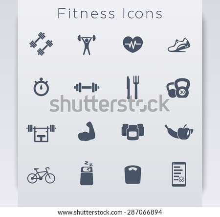 16 fitness, gym, sport, workout, healthy living flat blue icons, eps10, easy to edit - stock vector