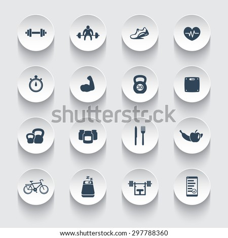 16 fitness, gym, sport, workout, healthy living icons on round 3d shapes vector illustration, eps10, easy to edit - stock vector