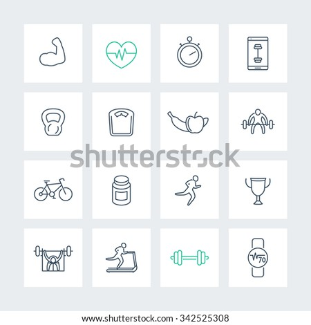 16 fitness, gym, training line icons set, vector illustration - stock vector