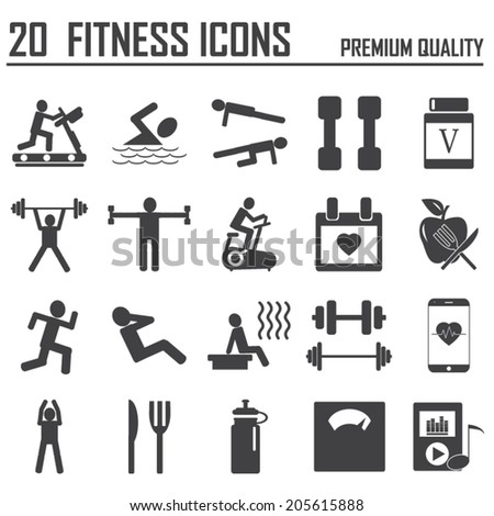 20  Fitness Icons - stock vector