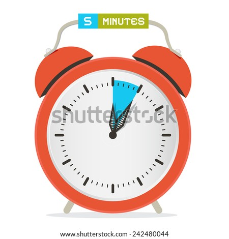 5 - Five Minutes Stop Watch - Alarm Clock Vector Illustration  - stock vector