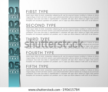 5 five parameter design concept components. Modern brochure business financecircle style banner. infographics vector, workflow layout, diagram, number step up options web