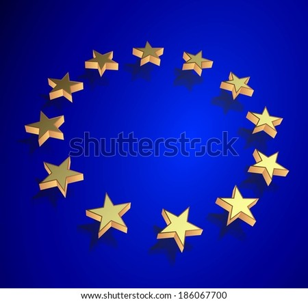 flag of the European Union with raised metal stars and a fabric texture.