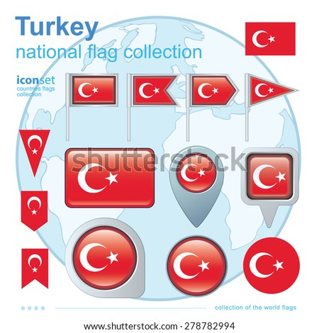 Flag of Turkey, icon collection, vector illustration - stock vector
