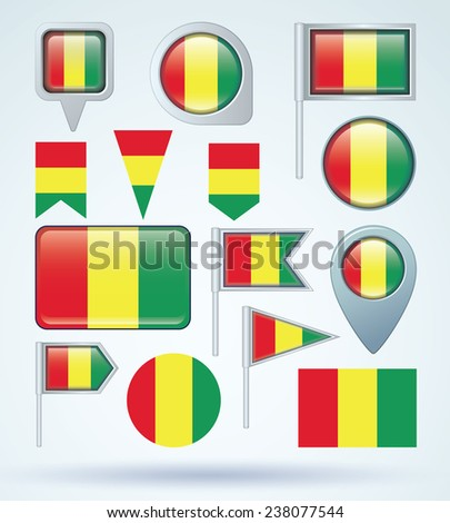 Flag set of guinean, vector illustration