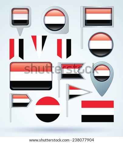 Flag set of Yemen, vector illustration - stock vector