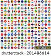 220 Flags of the world, circular shape, flat vector illustration - stock photo